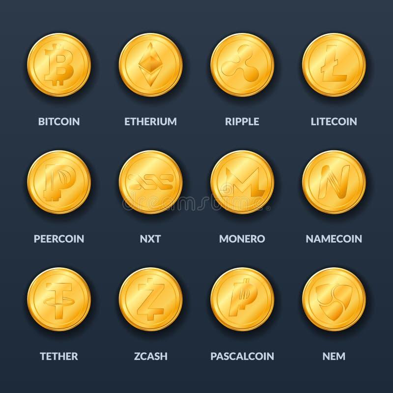 Sistema de monedas de oro con símbolos y muestras del curre crypto popular ilustración del vector