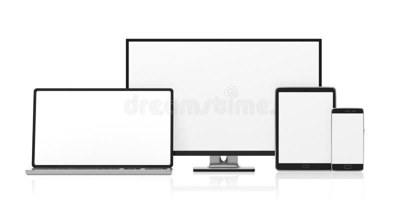 Sistema de monitores en blanco realistas Monitor de computadora, ordenador portátil, tableta y smartphone aislados en el fondo bl stock de ilustración