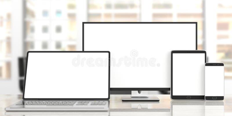 Sistema de monitores en blanco realistas Monitor de computadora, ordenador portátil, tableta y smartphone en el escritorio de mad ilustración del vector