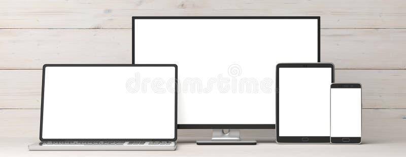Sistema de monitores en blanco realistas Monitor de computadora, ordenador portátil, tableta y smartphone en el fondo de madera,  libre illustration