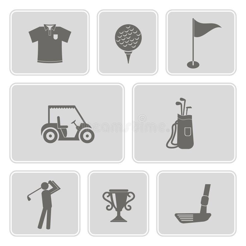Sistema de monocromo con los iconos del golf stock de ilustración