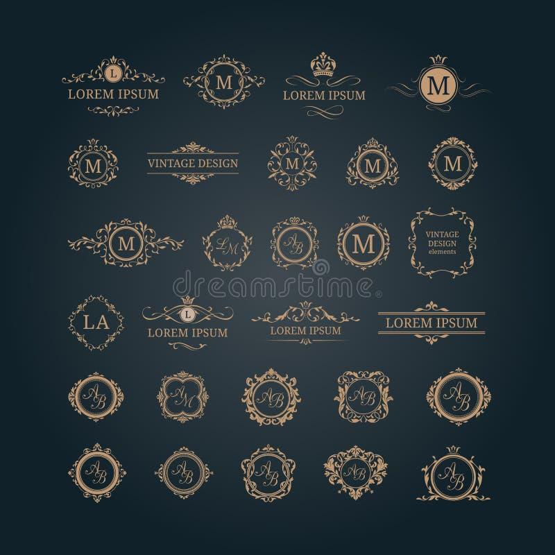 Sistema de monogramas y de fronteras florales elegantes stock de ilustración