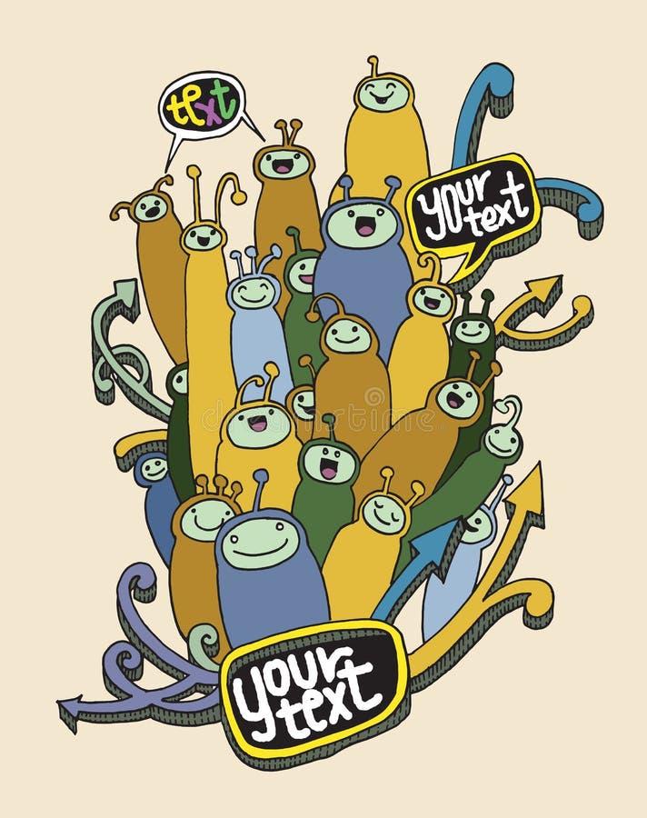 Sistema de monstruos divertidos lindos de la historieta del garabato stock de ilustración