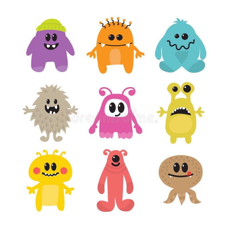 Sistema de monstruos sonrientes divertidos de la historieta Colección de diverso MES ilustración del vector
