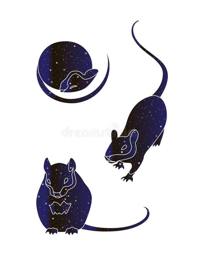 Sistema de mouses lindos Línea ejemplo animal de la rata, silueta del vector del color del cielo nocturno aislada en el fondo bla ilustración del vector