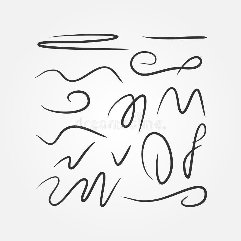 Sistema de movimientos aislados de la pluma, marcador, cepillo, lápiz Bosquejo, garabato, garabato, garrapatos ilustración del vector