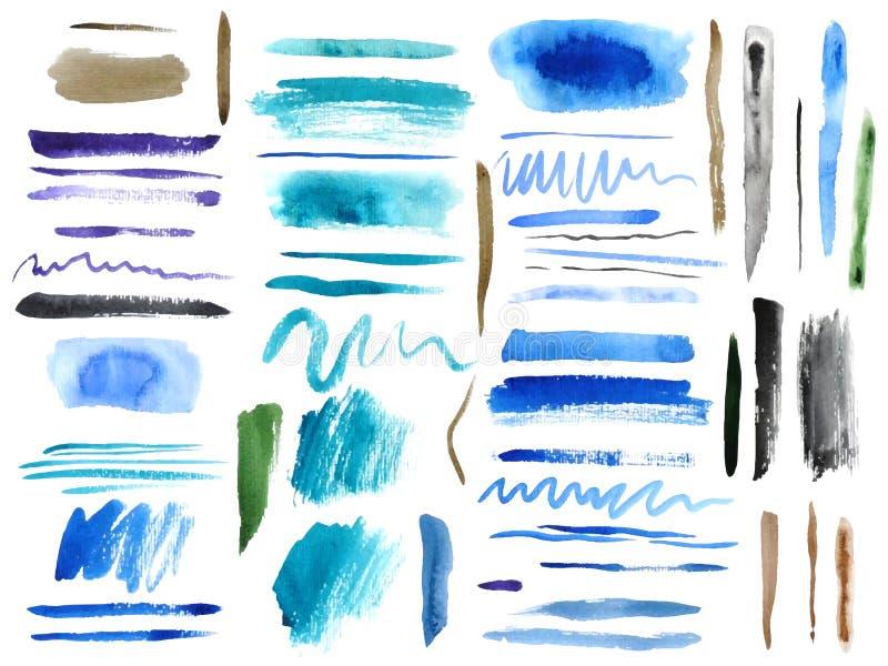 Sistema de movimientos coloridos del cepillo de la acuarela ilustración del vector
