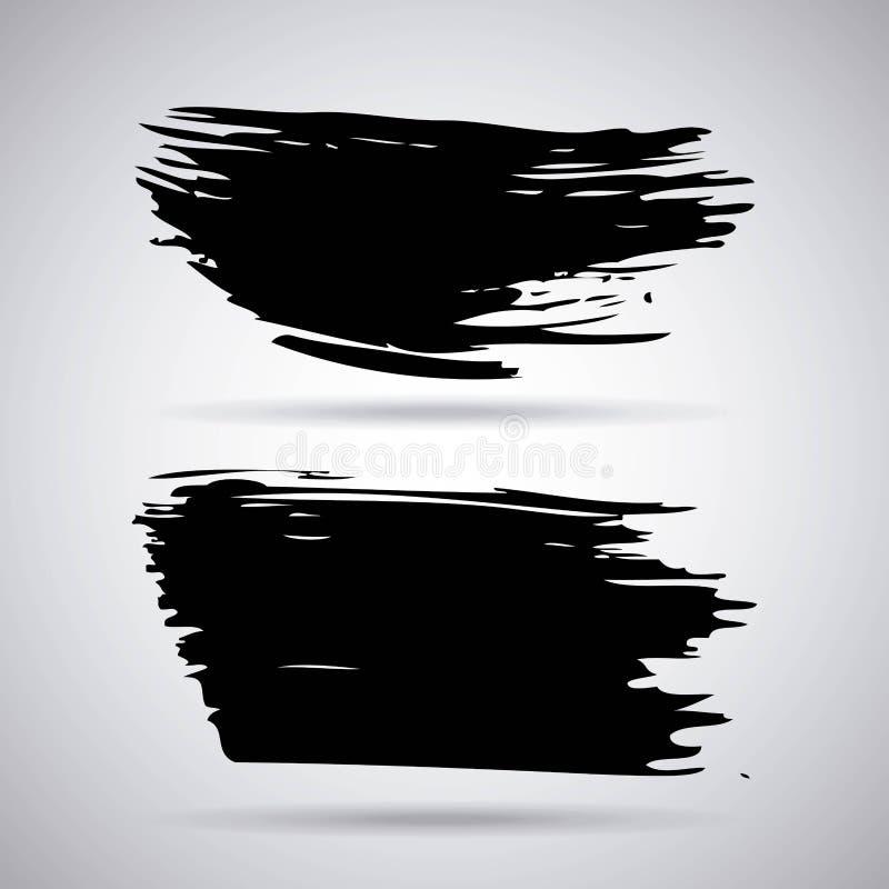 Sistema de movimientos creativos hechos a mano del cepillo de la tinta de la pintura negra artística aislados en el fondo blanco libre illustration