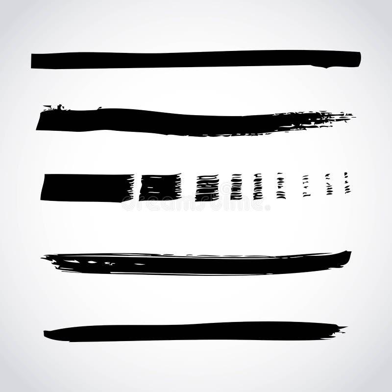 Sistema de movimientos creativos hechos a mano del cepillo de la tinta de la pintura negra artística aislados en el fondo blanco stock de ilustración