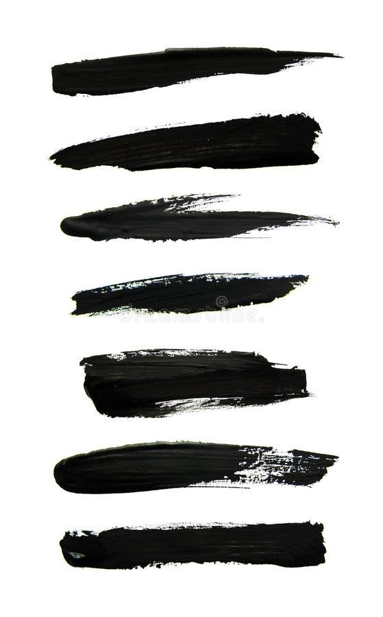 Sistema de movimientos negros del cepillo del aguazo stock de ilustración