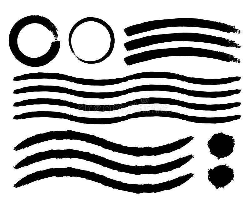 Sistema de movimientos pintados a mano del cepillo Movimientos del cepillo de la acuarela Vec stock de ilustración