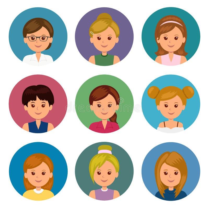 Sistema de muchachas de los avatares con diversos peinados Avatares aislados de las mujeres para el ui y el diseño web libre illustration