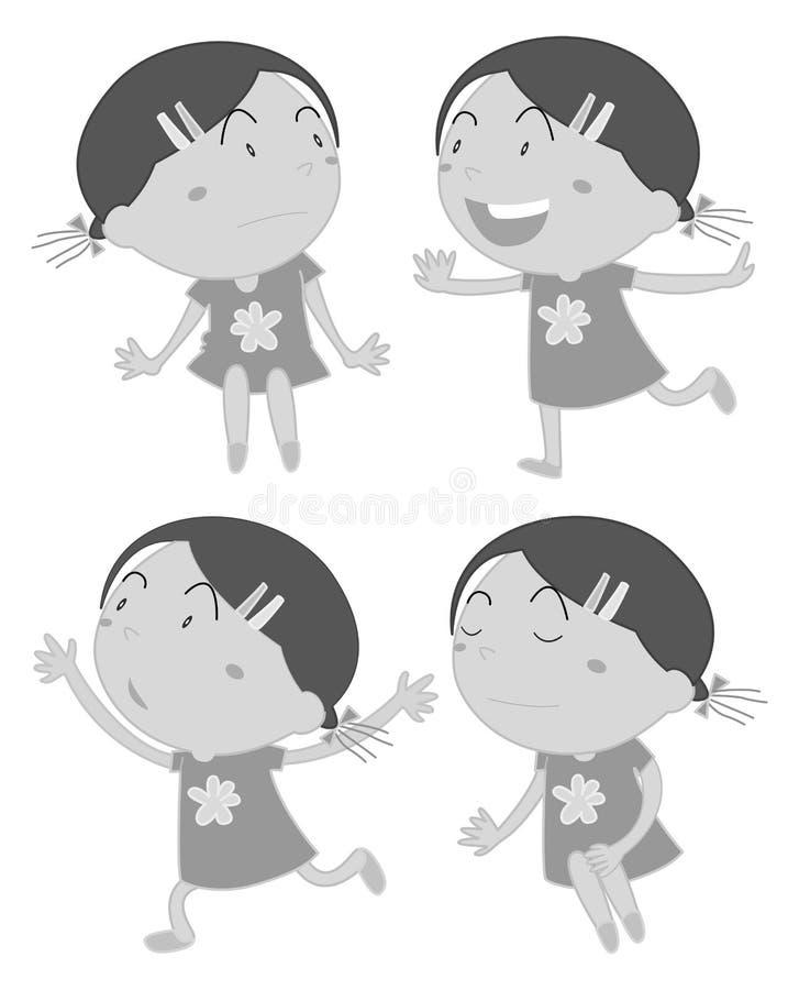 Sistema de muchachas en diversa acción libre illustration