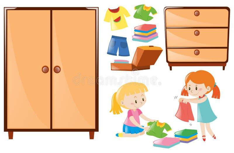 Sistema de muchachas que doblan la ropa y armarios ilustración del vector