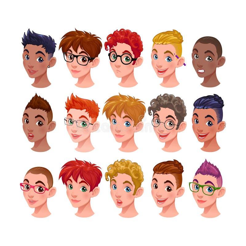 Sistema de muchachos con los diversos peinados y accesorios stock de ilustración