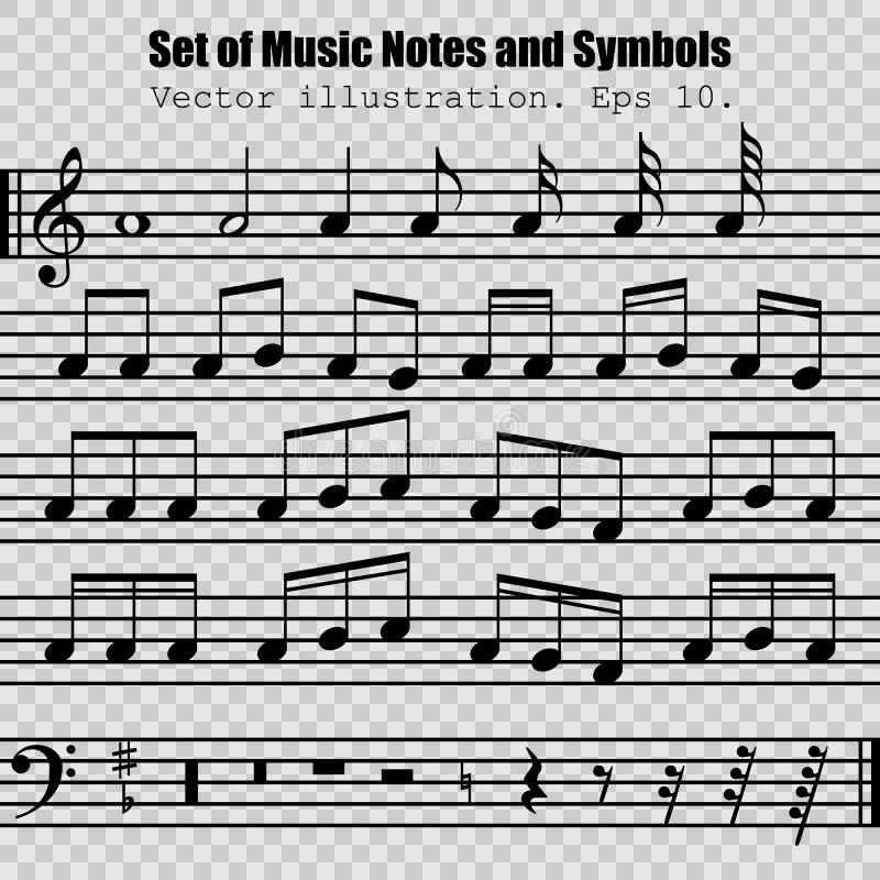 Sistema de muchas diversos notas y símbolos negros libre illustration