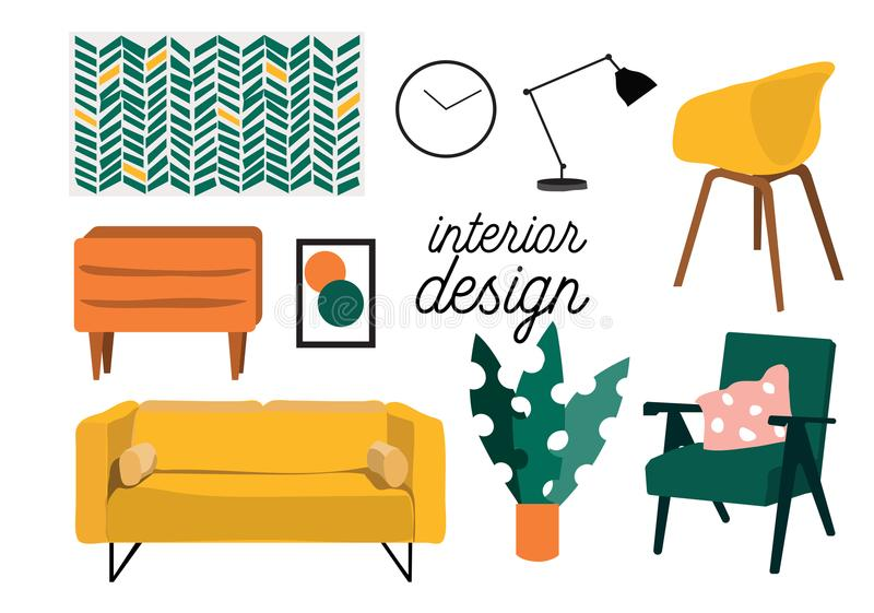 Sistema de muebles del salón stock de ilustración