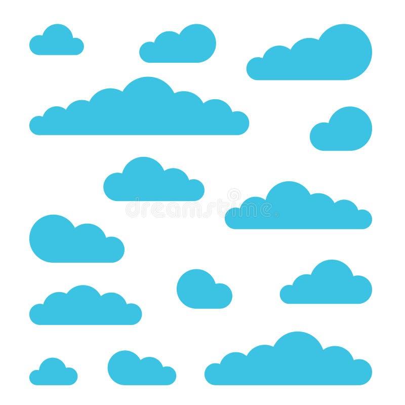 Sistema de muestras de la nube Símbolos para el ejemplo del vector de la previsión metereológica en estilo plano del diseño ilustración del vector