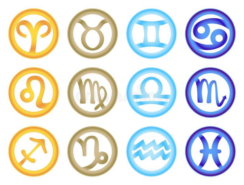 Sistema de muestras del zodiaco coloreadas respectivamente con los elementos libre illustration