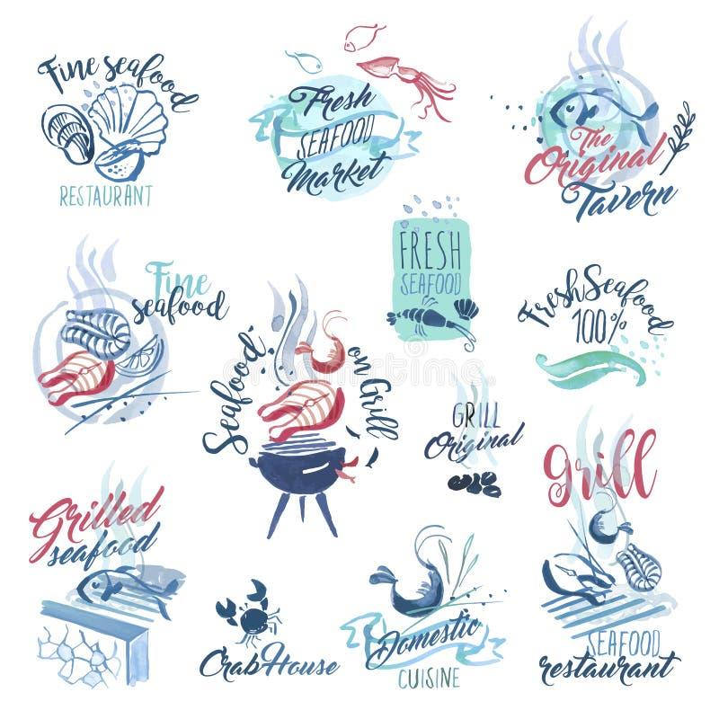 Sistema de muestras dibujadas mano de la acuarela y etiquetas engomadas de los mariscos libre illustration