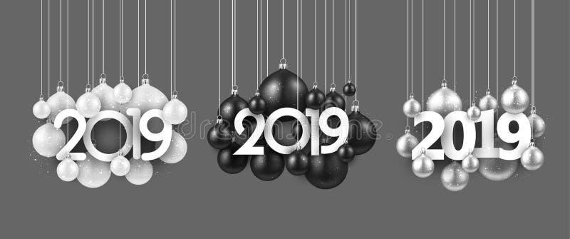 Sistema de 2019 muestras festivas del Año Nuevo con las bolas de la Navidad en gris ilustración del vector