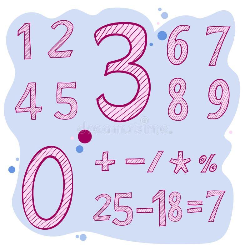 Sistema de números de acrílico caligráficos, letras de dibujo del vector imágenes de archivo libres de regalías