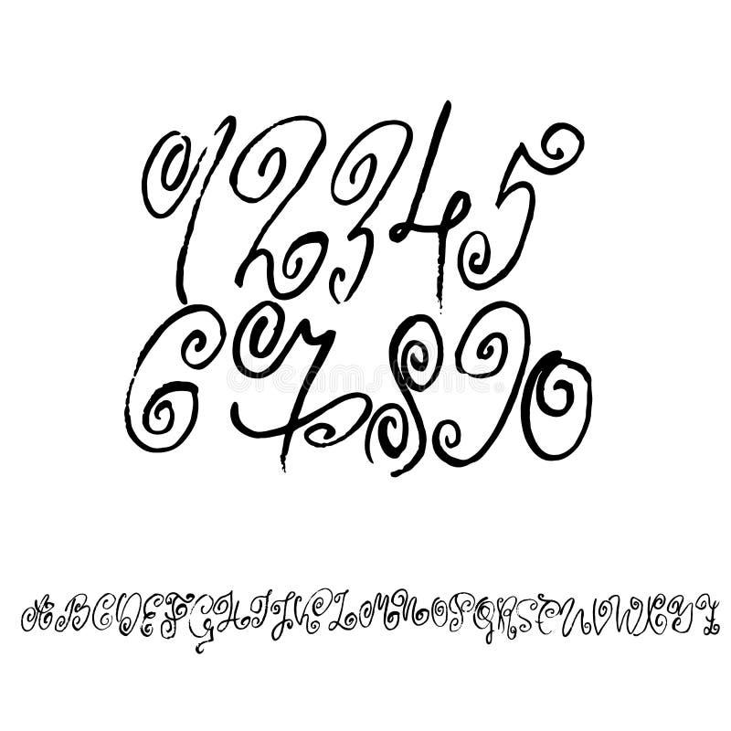 Sistema de números caligráficos de la tinta Letras secas texturizadas del cepillo Ilustración del vector ilustración del vector