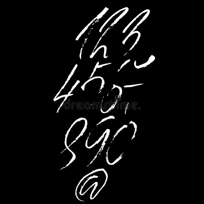 Sistema de números caligráficos de la tinta Letras secas texturizadas del cepillo Ilustración del vector stock de ilustración
