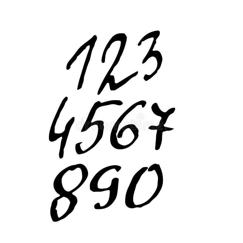 Sistema de números caligráficos de la tinta Letras texturizadas del cepillo Ilustración del vector ilustración del vector