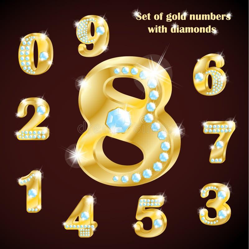 Sistema de números de lujo de oro y de diamantes imagenes de archivo