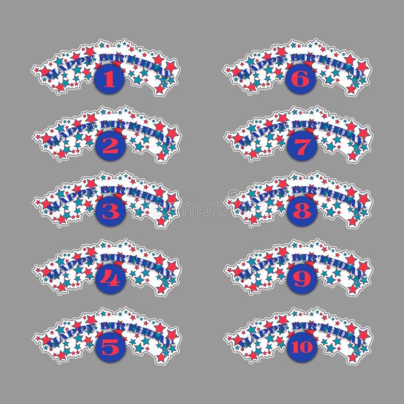 Sistema de números del aniversario ilustración del vector