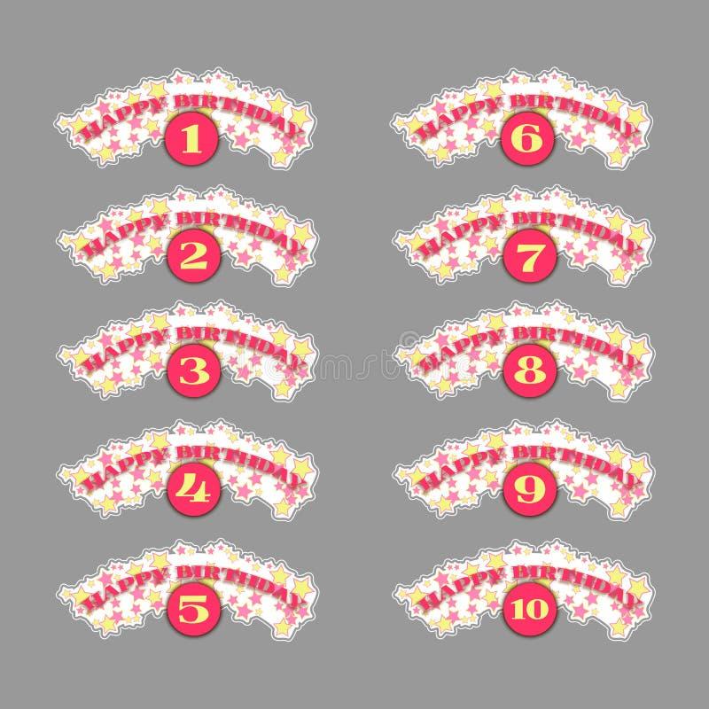 Sistema de números del aniversario stock de ilustración