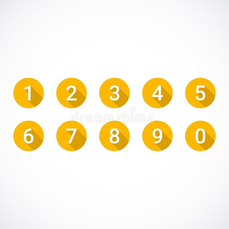 Sistema de 0-9 números Sistema de iconos anaranjados del número ilustración del vector