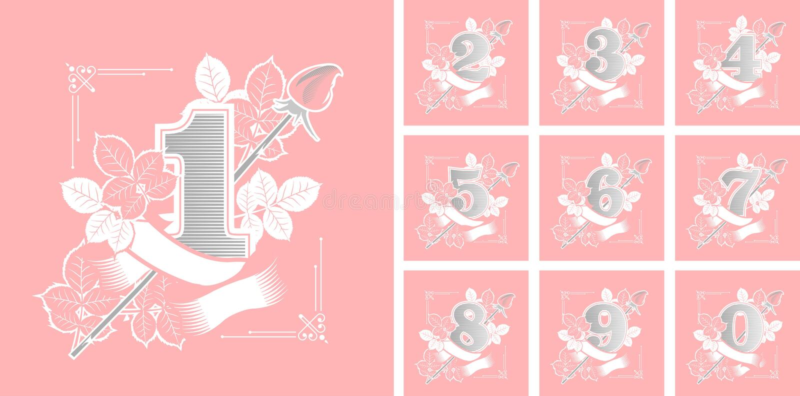 Sistema de números de la flor stock de ilustración