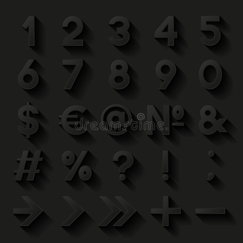 Sistema De Números Y De Símbolos Decorativos Ilustración del Vector