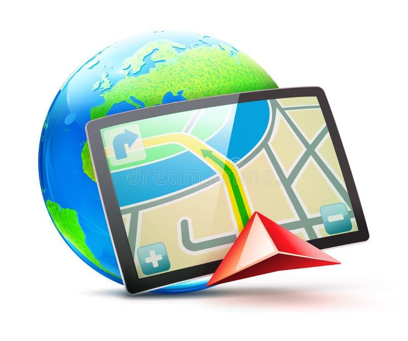 Sistema de navegación mundial ilustración del vector