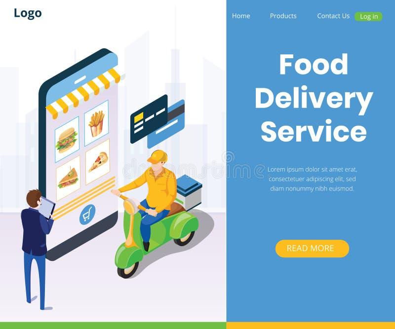 Sistema de navegación mundial de servicios de entrega en línea de la comida libre illustration
