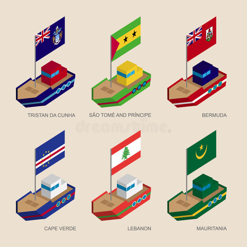 Sistema de naves isométricas con las banderas de países en Atlántico stock de ilustración