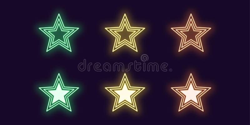 Sistema de ne?n del icono de la estrella que brilla intensamente Muestra brillante del vector stock de ilustración