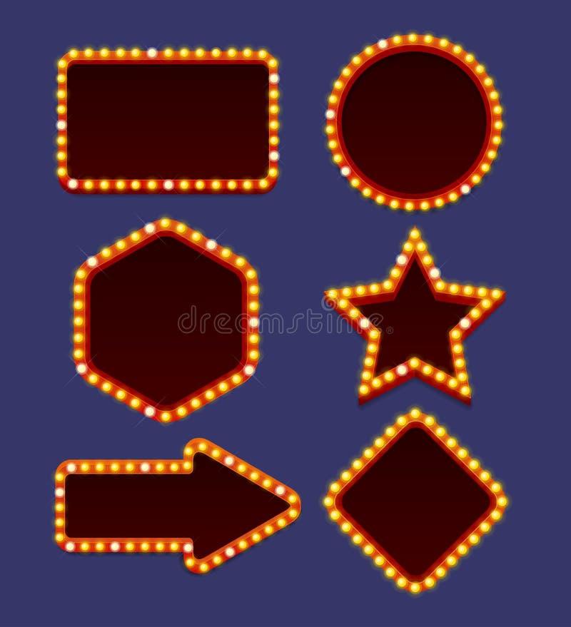 Sistema de neón del marco del resplandor del vintage de las bombillas Vector libre illustration
