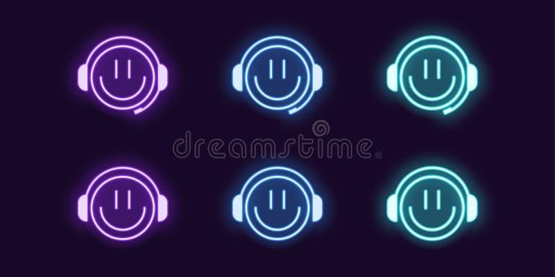 Sistema de ne?n del icono de videojugador del emoji con los auriculares stock de ilustración
