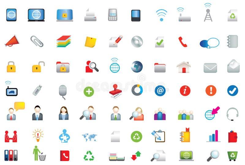 Sistema de negocio, de datos y de iconos planos coloreados del ambiente ilustración del vector
