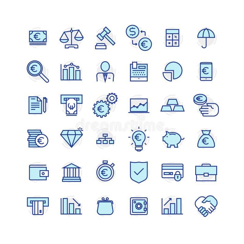 Sistema de negocio y de iconos de las finanzas imagenes de archivo