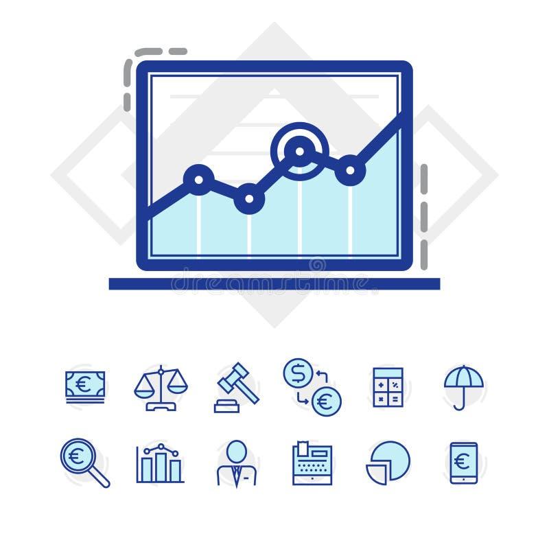 Sistema de negocio y de iconos de las finanzas fotos de archivo