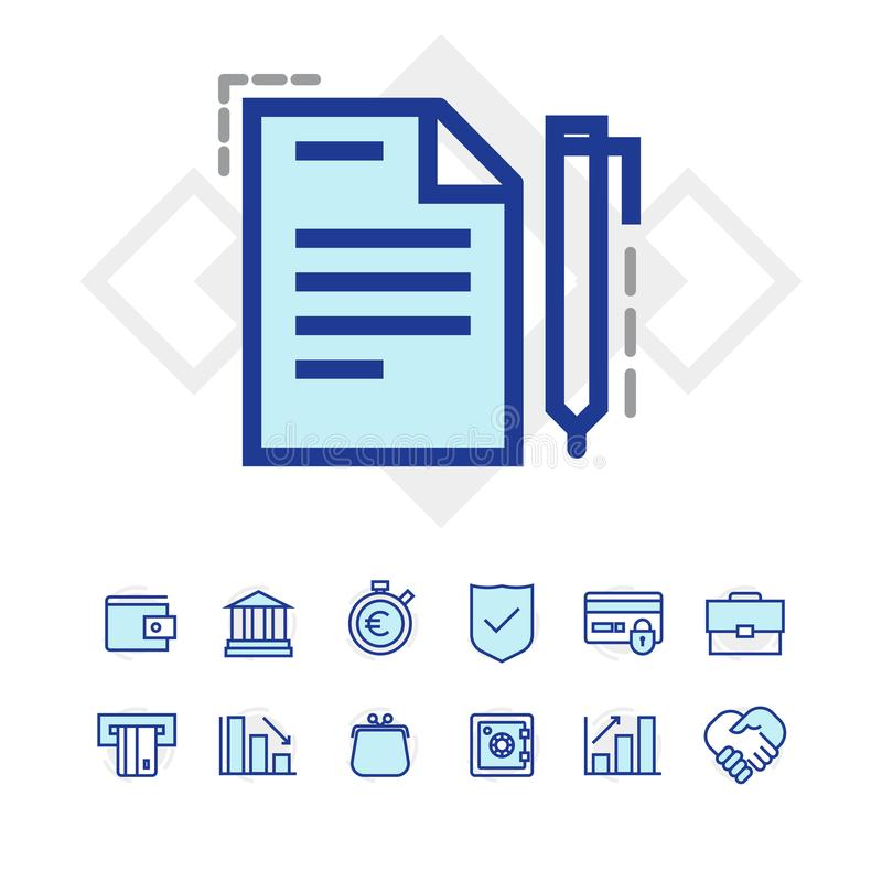 Sistema de negocio y de iconos de las finanzas imágenes de archivo libres de regalías