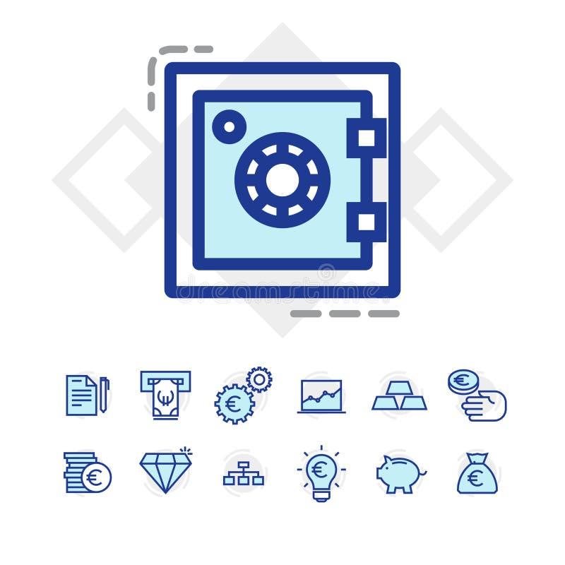 Sistema de negocio y de iconos de las finanzas foto de archivo libre de regalías