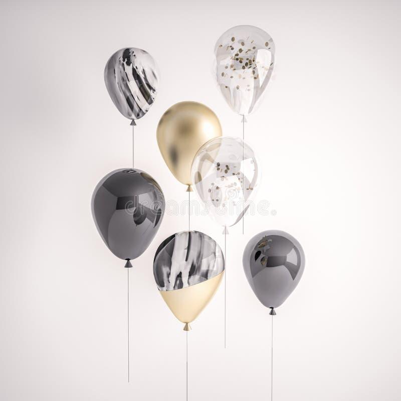 Sistema de negro brillante, transparente con el confeti, oro, globos realistas blancos y negros en el palillo para el partido, ev ilustración del vector