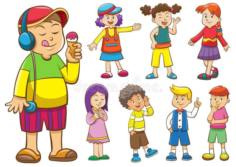 Sistema de niños de la historieta libre illustration