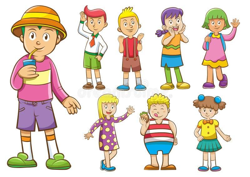 Sistema de niños de la historieta ilustración del vector