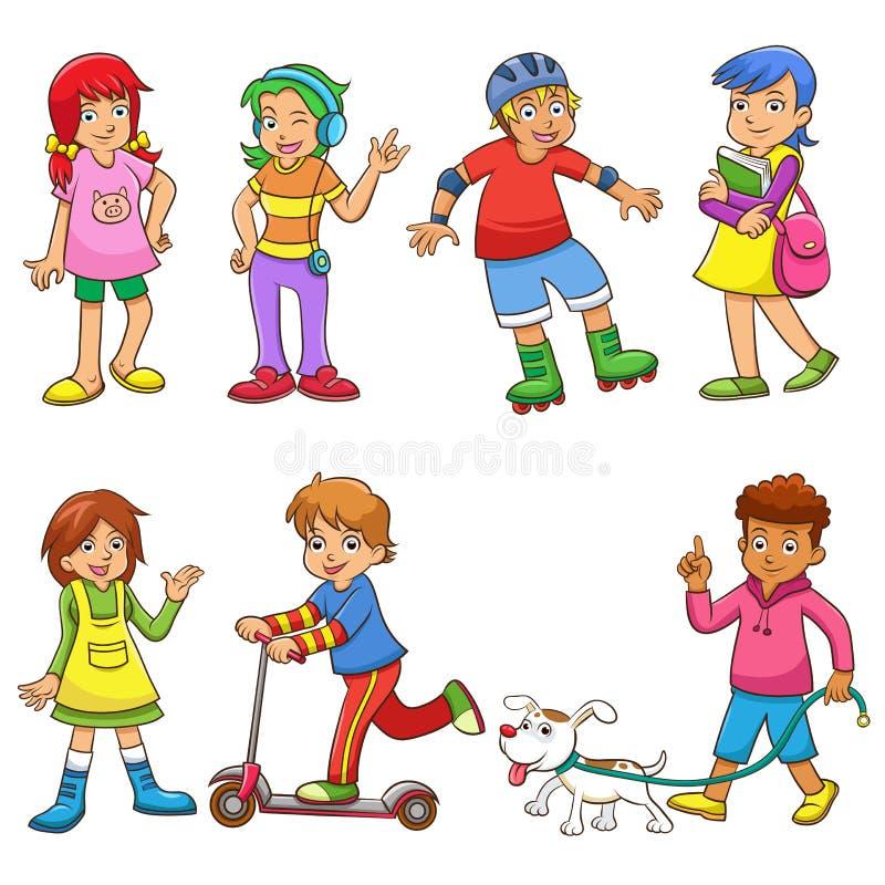 Sistema de niños felices de la historieta ilustración del vector